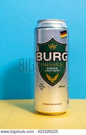 Tyumen, Russia-april 17, 2021: Burg Premium Beer Aluminum Can. Darguner Brauerei Is A German Brewery