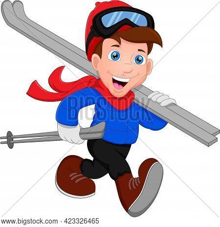 Happy Boy Is Skiing. Boy Is Walking With Ski Equipment