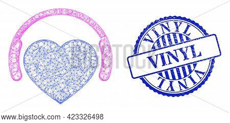 Vector Crossing Mesh Favourite Headphones Frame, And Vinyl Blue Rosette Corroded Watermark. Hatched