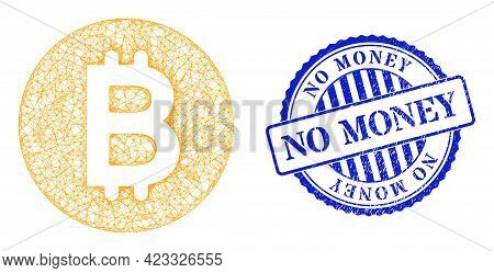 Vector Net Mesh Bitcoin Gold Coin Carcass, And No Money Blue Rosette Scratched Stamp Seal. Linear Ca