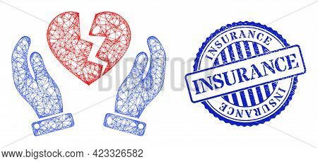 Vector Network Broken Heart Protection Hands Frame, And Insurance Blue Rosette Scratched Watermark.