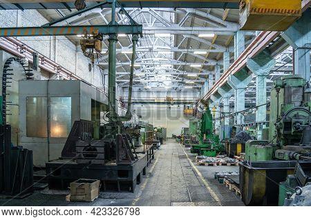 Metalworking Factory. Workshop Machine Tools For Metal Processing. Heavy Industry.