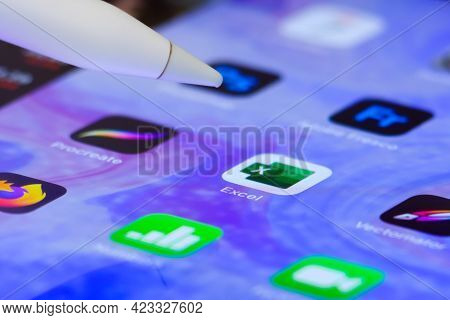 Microsoft Excel Application Opening By Apple Pencil On The Ipad Screen. Berlin, Germany, June 2021.