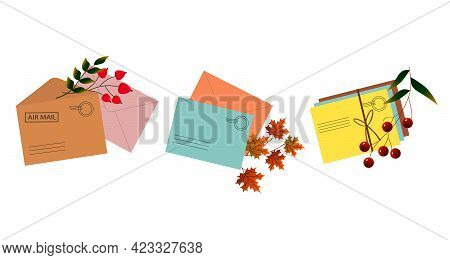 Set Of Three Illustrations Of Postage Envelopes With Autumn Leaves. Vector Illustration. For The Des