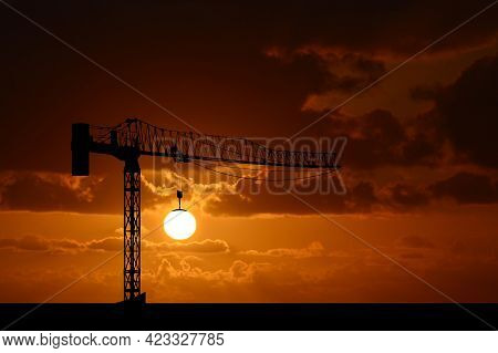 Hand Drawn Crane Lifting The Sun At The Sunset Time