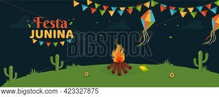 Festa Junina Brazilian Festival Holiday Background, Bonfire Night.