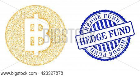 Vector Crossing Mesh Bitcoin Coin Frame, And Hedge Fund Blue Rosette Corroded Seal. Crossed Frame Ne