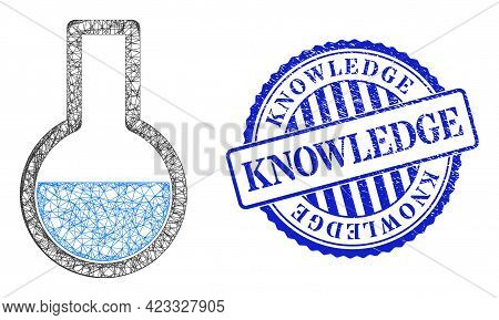 Vector Net Mesh Flask Frame, And Knowledge Blue Rosette Unclean Stamp Seal. Crossed Frame Net Image