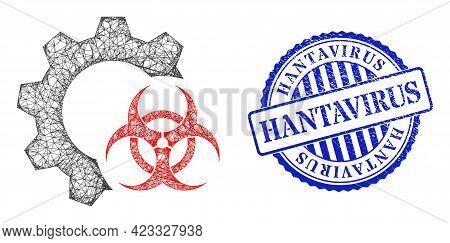 Vector Net Mesh Biohazard Industry Framework, And Hantavirus Blue Rosette Rubber Stamp Seal. Crossed
