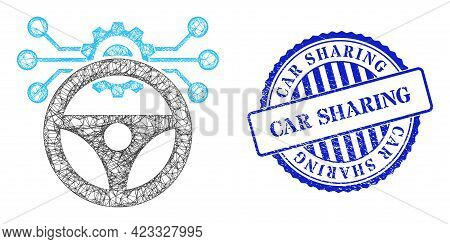 Vector Crossing Mesh Car Autopilot Scheme Frame, And Car Sharing Blue Rosette Textured Seal. Crossed