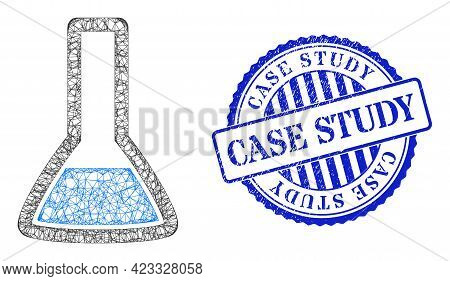 Vector Net Mesh Chemical Retort Carcass, And Case Study Blue Rosette Corroded Stamp. Crossed Frame N