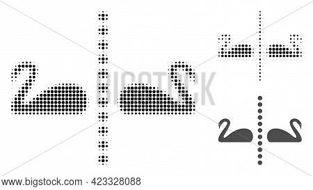 Separate Swans Halftone Dotted Icon. Halftone Pattern Contains Round Points. Vector Illustration Of