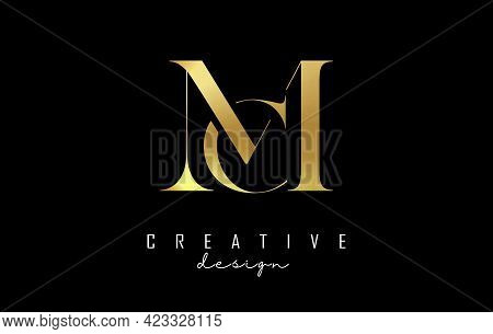 Golden Mc M C Letter Design Logo Logotype Concept With Serif Font And Elegant Style. Vector Illustra