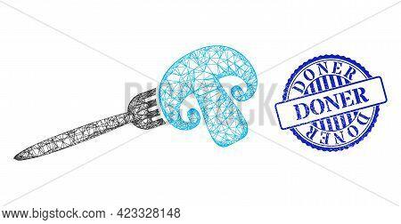 Vector Net Mesh Champignon Fork Framework, And Doner Blue Rosette Dirty Stamp Seal. Hatched Carcass