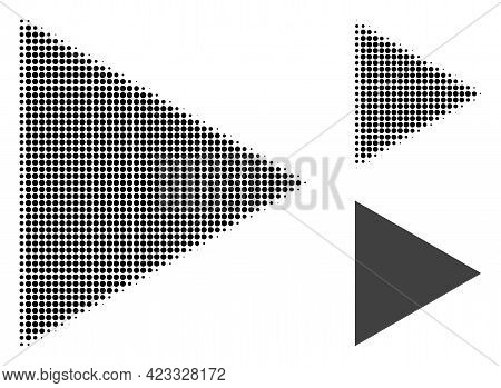 Play Function Halftone Dotted Icon. Halftone Array Contains Circle Dots. Vector Illustration Of Play