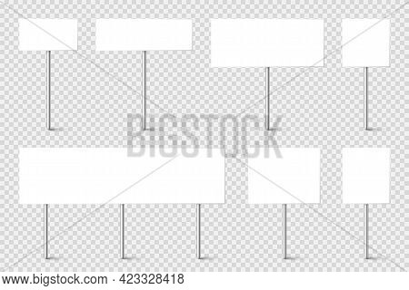 Blank Board With Place For Text, Protest Signs Set Isolated On Transparent Background. Realistic Dem