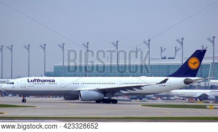 Munich, Germany - 11 October 2015: Lufthansa Airbus A330-300 Passenger Plane Taxiing At Munich Airpo