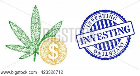Vector Network Cannabis Investing Carcass, And Investing Blue Rosette Corroded Stamp Seal. Linear Fr