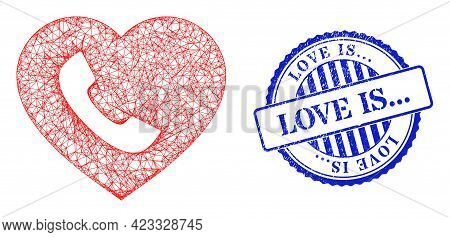 Vector Crossing Mesh Favourite Phone Frame, And Love Is... Blue Rosette Rubber Stamp Seal. Hatched F