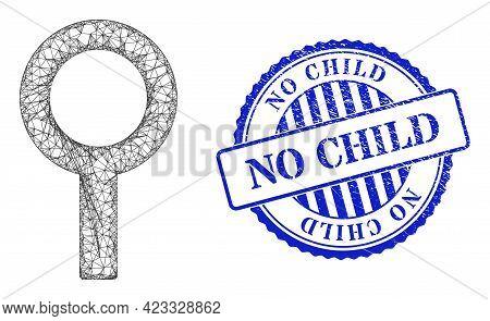 Vector Crossing Mesh Barren Gender Symbol Wireframe, And No Child Blue Rosette Scratched Stamp. Line