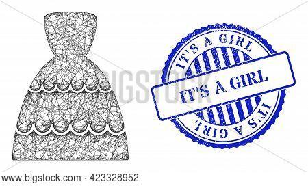 Vector Net Bride Dress Carcass, And Its A Girl Blue Rosette Grunge Watermark. Hatched Frame Net Symb