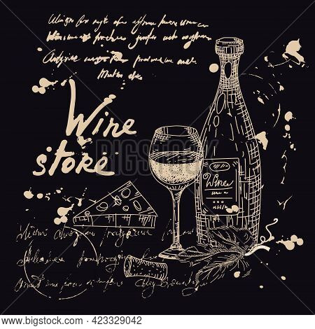 Collection Wine Products And Vineyard Hand Drawn Scetch. Grapes, Bottle, Chees, Glass, Corkscrew Vin