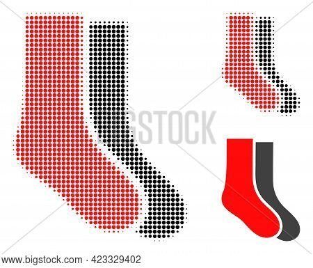 Socks Halftone Dotted Icon. Halftone Array Contains Circle Pixels. Vector Illustration Of Socks Icon