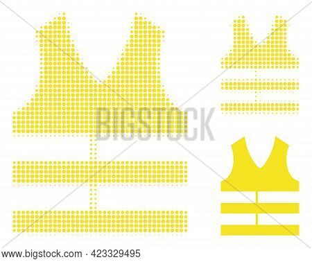 Safety Vest Halftone Dotted Icon. Halftone Array Contains Round Dots. Vector Illustration Of Safety