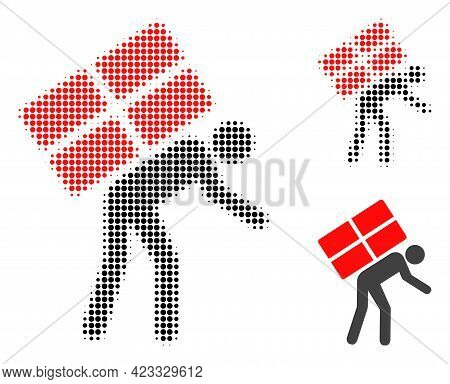 Refugee Halftone Dotted Icon. Halftone Array Contains Circle Points. Vector Illustration Of Refugee