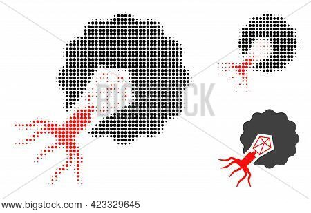 Virus Infecting Cell Halftone Dotted Icon. Halftone Pattern Contains Round Dots. Vector Illustration