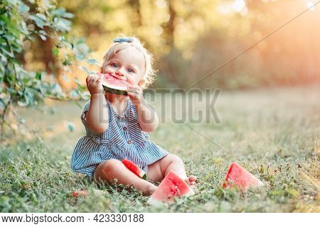 Summer Seasonal Picnic Food. Cute Caucasian Baby Girl Eating Ripe Red Watermelon In Park. Funny Chil
