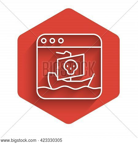 White Line Internet Piracy Icon Isolated With Long Shadow. Online Piracy. Cyberspace Crime With File