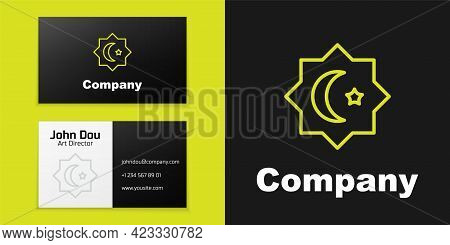Logotype Line Islamic Octagonal Star Ornament Icon Isolated On Black Background. Logo Design Templat