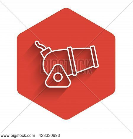 White Line Cannon Icon Isolated With Long Shadow Background. Medieval Weapons. Red Hexagon Button. V