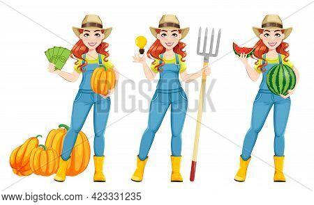 Beautiful Woman Farmer, Set Of Three Poses. Cute Girl Farmer Cartoon Character. Stock Vector Illustr