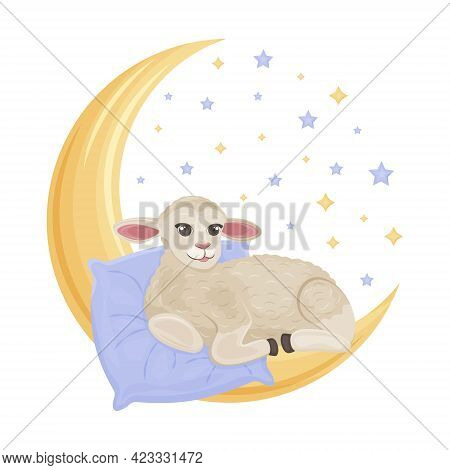 Cute Children S Illustration With A Picture Of A Cute Sheep Lying On A Pillow And A Crescent Moon Su