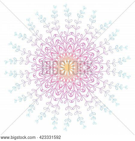 Vector Boho Mandala With Floral Patterns In Pink And Blue Colors. Flower Mandala.