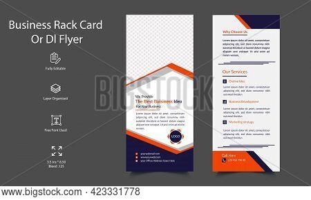 Corporate Business Rack Card Or Dl Flyer Template Design. Minimal Rack Card Template. Print Ready Ed