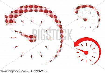 Time Backward Halftone Dotted Icon. Halftone Pattern Contains Circle Pixels. Vector Illustration Of