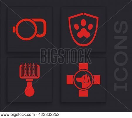 Set Veterinary Clinic Symbol, Retractable Cord Leash, Animal Health Insurance And Hair Brush For Dog