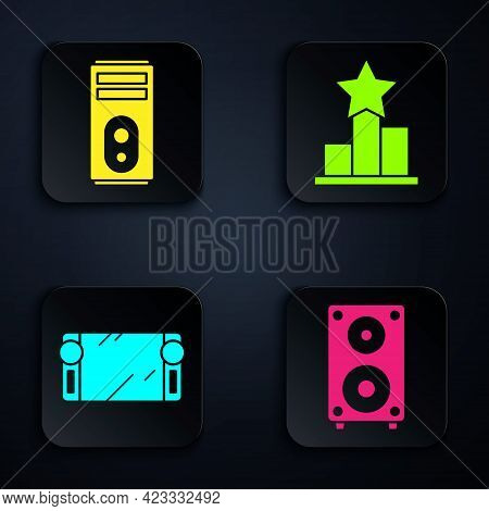 Set Stereo Speaker, Computer, Portable Video Game Console And Star. Black Square Button. Vector