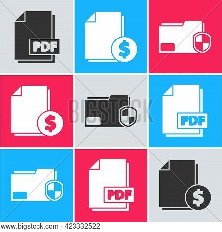 Set Pdf File Document, Finance Document And Document Folder Protection Icon. Vector