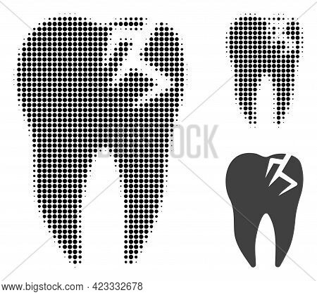 Tooth Fracture Halftone Dotted Icon. Halftone Pattern Contains Circle Pixels. Vector Illustration Of
