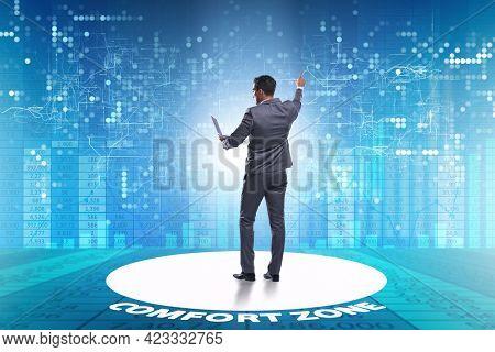 Businessman leaving his comfort zone