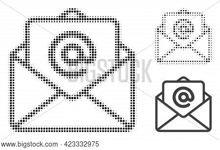Open E-mail Halftone Dotted Icon. Halftone Pattern Contains Circle Points. Vector Illustration Of Op