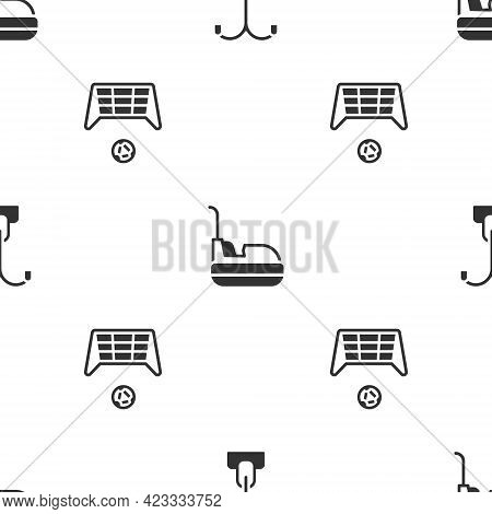 Set Street Light, Bumper Car And Soccer Goal With Ball On Seamless Pattern. Vector