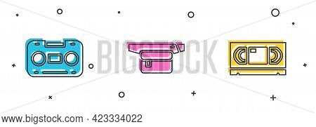 Set Retro Audio Cassette Tape, Waist Bag Of Banana And Vhs Video Icon. Vector