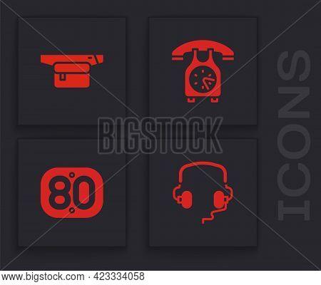 Set Headphones, Waist Bag Of Banana, Telephone Handset And 80s Retro Icon. Vector