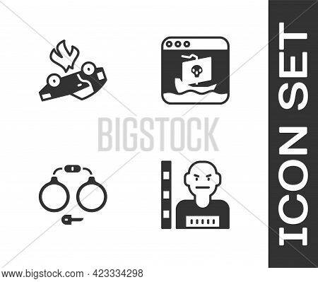 Set Suspect Criminal, Burning Car, Handcuffs And Internet Piracy Icon. Vector