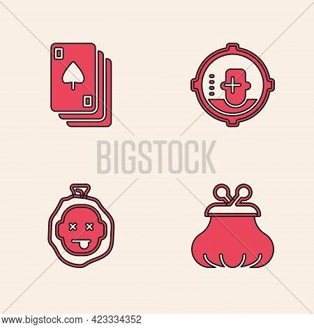 Set Wallet, Playing Cards, Headshot And Murder Icon. Vector